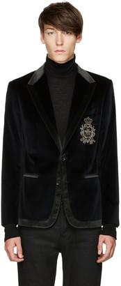 Dolce & Gabbana Blue Velvet Crest Blazer $3,445 thestylecure.com