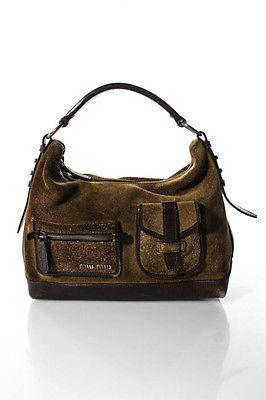 Miu MiuMiu Miu Brown Leather Zip Shoulder Handbag