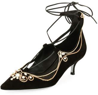 Rene Caovilla Suede Embellished Lace-Up Pumps, Black
