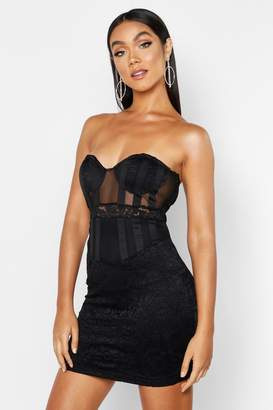 boohoo Bandeau Cupped Mesh Lace Mini Dress