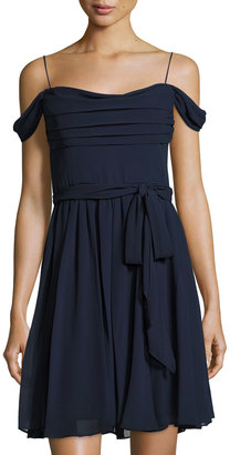 Vera Wang Off-the-Shoulder Chiffon Cocktail Dress $159 thestylecure.com