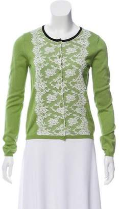 Valentino Long Sleeve Lace-Accent Cardigan