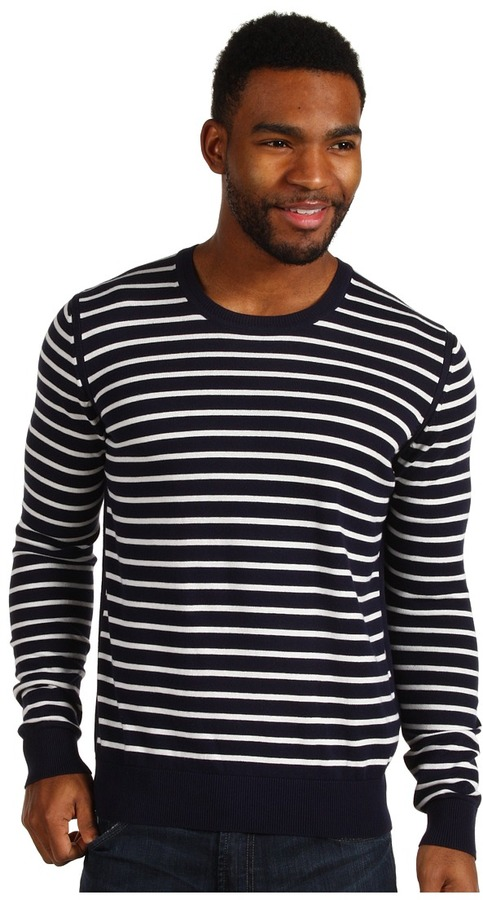Ben Sherman Stripe Crew Neck Sweater (North Sea Blue) - Apparel