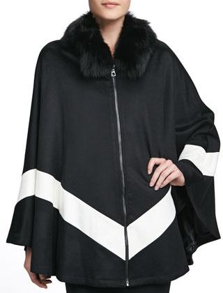 Sofia Cashmere Fox Fur-Collar Zip-Front Cape, Black/White