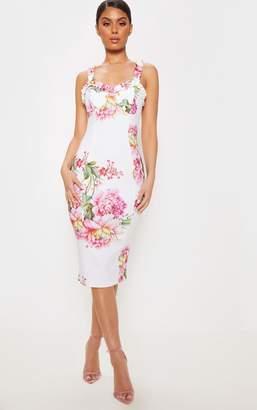 PrettyLittleThing White Printed Ruffle Trim Midi Dress