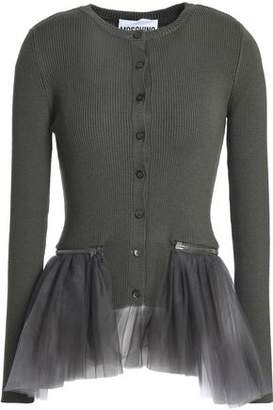 Moschino Tulle-Paneled Ribbed Wool Peplum Cardigan