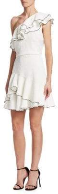 Halston One-Shoulder Ruffle Dress