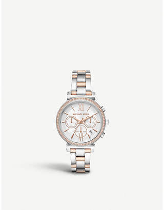 655fc4b0e2db Michael Kors MK6558 Sofie two-tone stainless steel chronograph watch