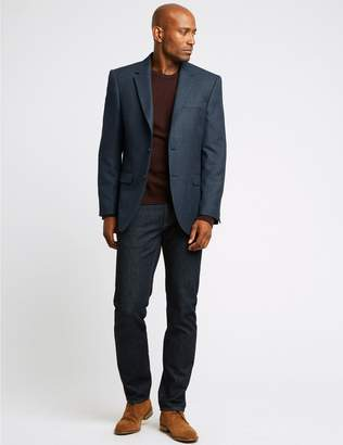 Marks and Spencer Big & Tall Navy Checked Regular Fit Jacket