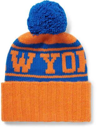 The Elder Statesman + Nba New York Knicks Intarsia Bobble Hat