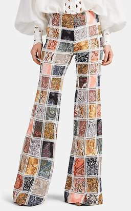 Zimmermann Women's Ninety-Six Paisley Linen Patchwork Flared Trousers