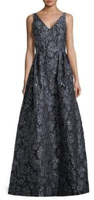 Theia Floral Sleeveless Ball Gown