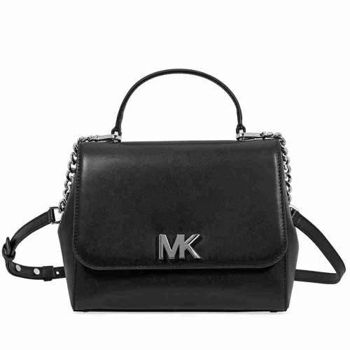 Michael Kors Mott Medium Smooth Leather Satchel- Black - BLACK - STYLE