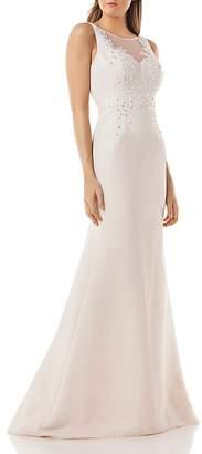 Carmen Marc Valvo Embellished Mermaid Gown
