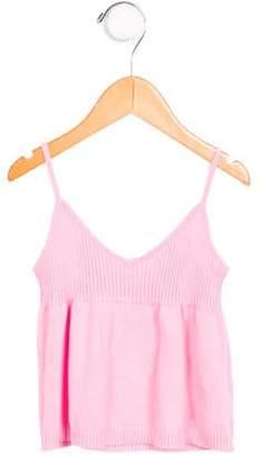 Charabia Girls' Sleeveless Rib Knit Top
