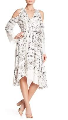 BCBGMAXAZRIA Leeam Cold Shoulder Wrap Dress