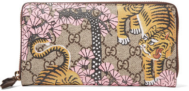 Gucci Gucci - Leather-trimmed Printed Coated-canvas Continental Wallet - Beige