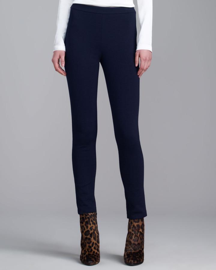 St. John Milano Knit Alexa Slim Ankle Pant, Navy
