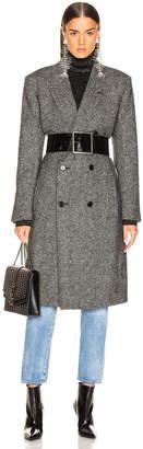 Saint Laurent Tweed Classic Double Breasted Coat
