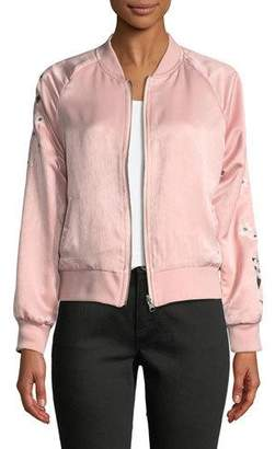 Cupcakes And Cashmere Donya Zip-Front Embroidered Bomber Jacket