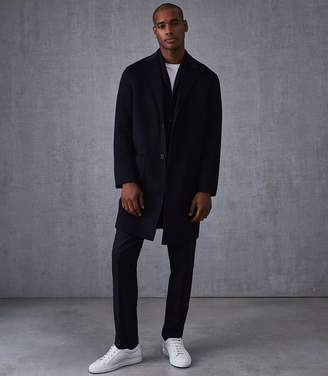 Reiss Our last order date for Christmas has now passed CAMELOT WOOL LONGLINE OVERCOAT Navy