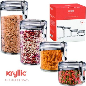 clear Kryllic Food Storage containers canister set - Cereal Container Air Tight Canisters with lids for the dry flour coffee rice acrylic plastic glass airtight cannister sets for kitchen