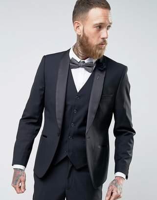 French Connection Slim Fit Black Shawl Collar Tuxedo Jacket