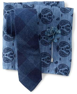 Original Penguin Arrese Plaid Tie, Pocket Square, & Lapel Pin Set