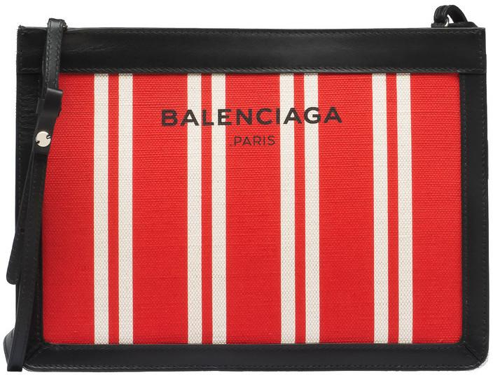 Balenciaga Navy Striped Canvas Clutch