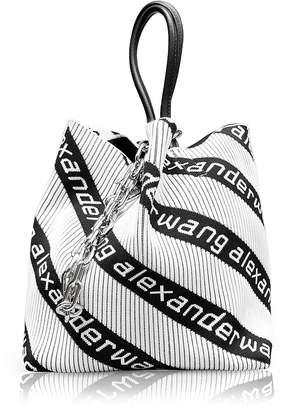 Alexander Wang Kint Jacquard Logo Soft Striped Canvas Small Tote Bag