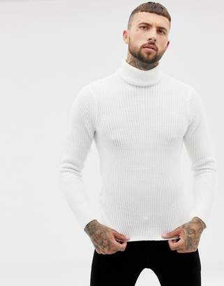 Bershka knitted roll neck sweater in cream