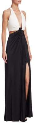 Galvan Stretch Jersey Halter Gown
