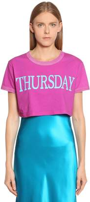 Alberta Ferretti Thursday Cotton Jersey Cropped T-Shirt