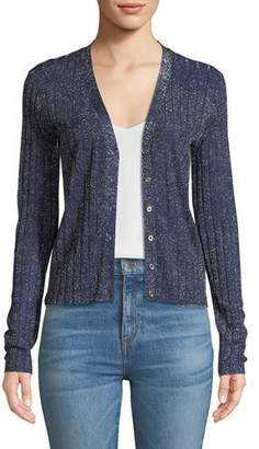 Veronica Beard Toll Ribbed Metallic Cardigan