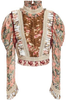 Zimmermann Pleated Floral-print Silk Blouse