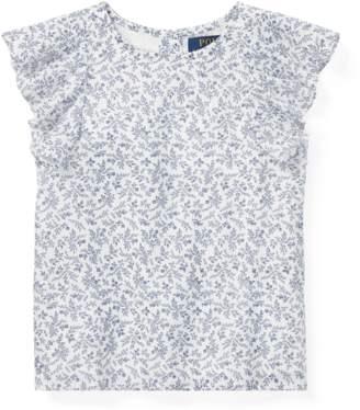 Ralph Lauren Kids Floral Flutter-Sleeve Top
