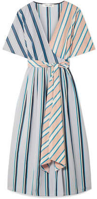 Diane von Furstenberg Striped Cotton Wrap Dress - Sky blue