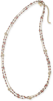 "INC International Concepts I.n.c. Gold-Tone Crystal & Bead Double-Row Station Necklace, 60"" + 3"" extender"