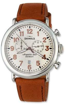 Shinola Men's 47mm The Runwell Chronograph Watch w/ Statue of Liberty Back & Leather Strap