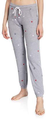 PJ Salvage USA Love Star-Print Jogger Pants