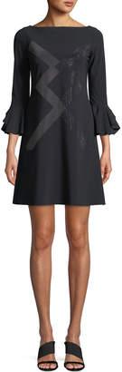 Chiara Boni Ornabis Natalia Geometric Mini Dress w/ Trumpet Sleeves