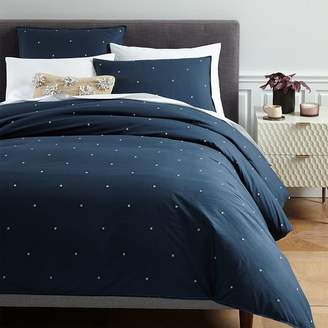 west elm Organic Washed Cotton Duvet Cover - Shadow Blue