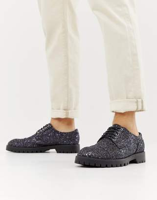 Truffle Collection Glitter Lace Up Shoe in Petrol
