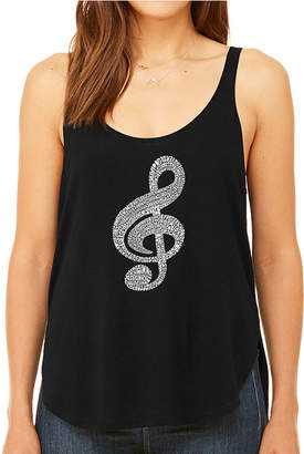 LOS ANGELES POP ART Los Angeles Pop Art Women's Premium Word Art Flowy Tank Top - Music Note