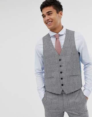 Moss Bros skinny waistcoat with check boucle