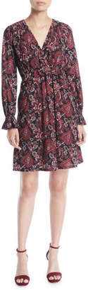 MICHAEL Michael Kors Short V-Neck Long-Sleeve Shirring Paisley-Print Dress