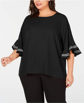 Calvin Klein Plus Size Ribbon-Trim Ruffle-Sleeve Top