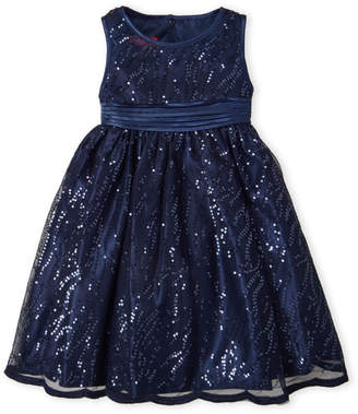 Princess Faith (Girls 4-6x) Navy Sequin Tulle Dress