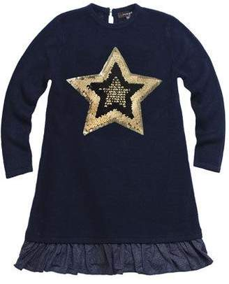 Imoga Fine Sweater Metallic-Hem Long-Sleeve Dress w/ Sequin Star Patch, Size 4-6