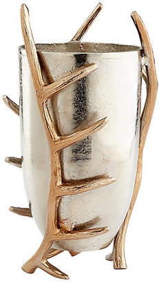 "Cyan 15"" Night Watch Antler Vase - Silver/Gold"